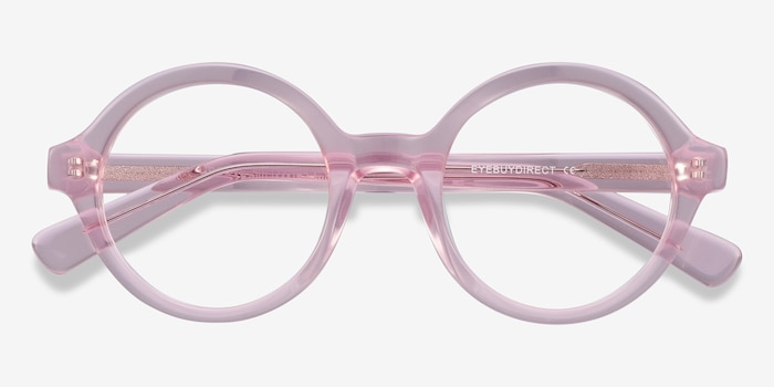 Groove Pink Acetate Eyeglass Frames from EyeBuyDirect, Closed View