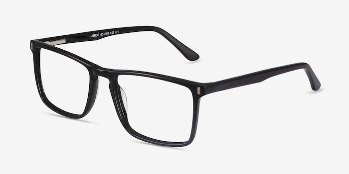 Arise Black Acetate Eyeglass Frames from EyeBuyDirect, Angle View
