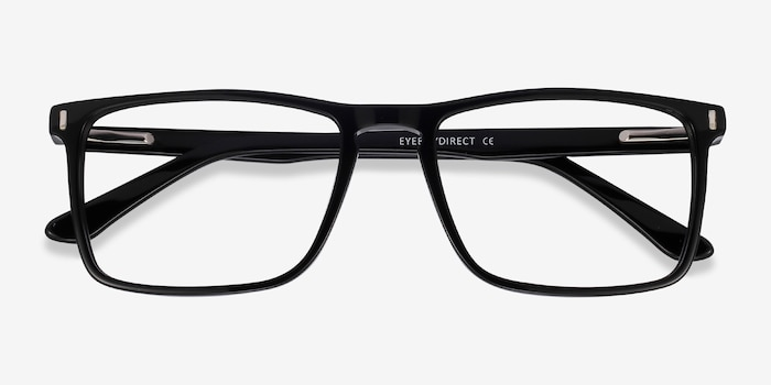 Arise Black Acetate Eyeglass Frames from EyeBuyDirect, Closed View