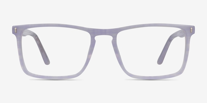 Arise Purple Striped Acetate Eyeglass Frames from EyeBuyDirect, Front View