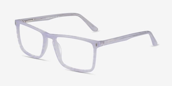 Arise Purple Striped Acetate Eyeglass Frames from EyeBuyDirect, Angle View