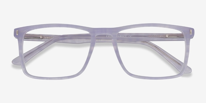 Arise Purple Striped Acetate Eyeglass Frames from EyeBuyDirect, Closed View