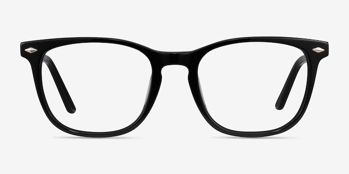 Honor Black Acetate Eyeglass Frames from EyeBuyDirect, Front View