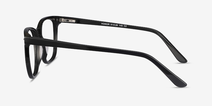 Honor Black Acetate Eyeglass Frames from EyeBuyDirect, Side View