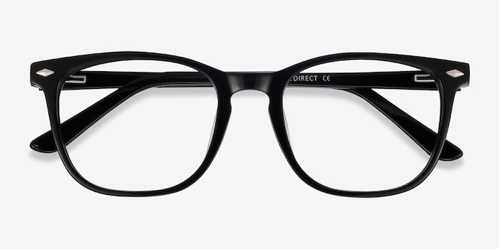 Honor Black Acetate Eyeglass Frames from EyeBuyDirect, Closed View