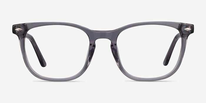 Honor Clear Gray Acetate Eyeglass Frames from EyeBuyDirect, Front View