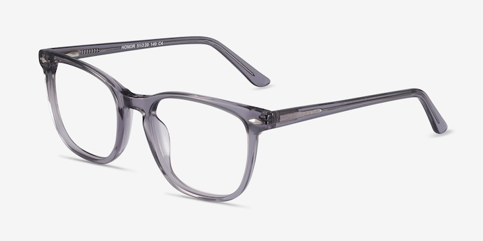 Honor Clear Gray Acétate Montures de Lunettes d'EyeBuyDirect, Vue d'Angle