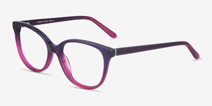 Pursuit Purple Acetate Eyeglass Frames from EyeBuyDirect, Angle View