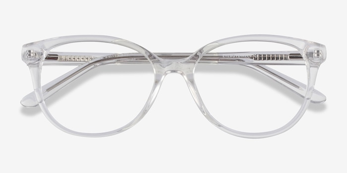 Pursuit Clear Acetate Eyeglass Frames from EyeBuyDirect, Closed View