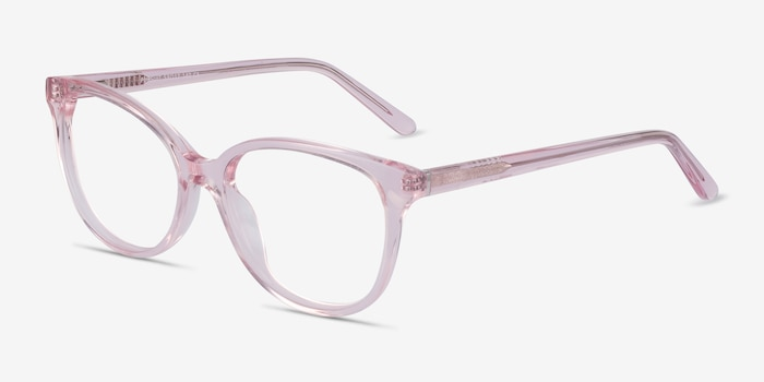 Pursuit Pink Acetate Eyeglass Frames from EyeBuyDirect, Angle View