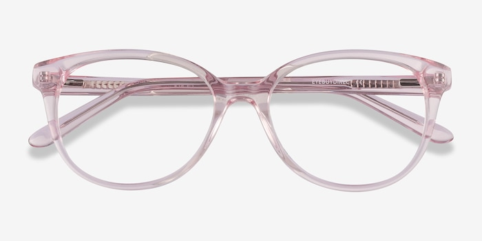 Pursuit Pink Acetate Eyeglass Frames from EyeBuyDirect, Closed View