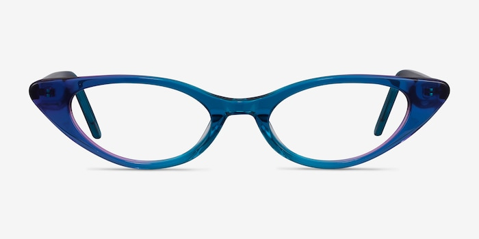 Hush Bleu Acétate Montures de Lunette de vue d'EyeBuyDirect, Vue de Face