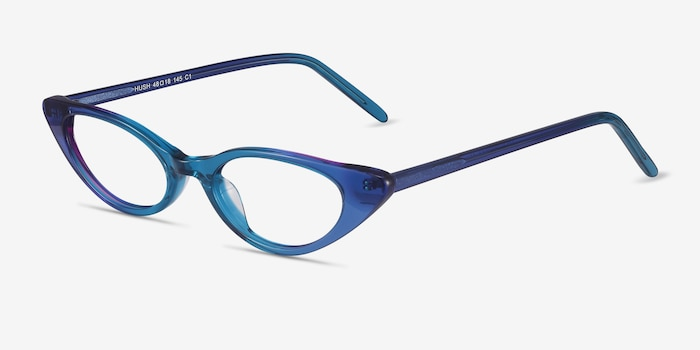 Hush Blue Acetate Eyeglass Frames from EyeBuyDirect, Angle View