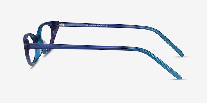 Hush Blue Acetate Eyeglass Frames from EyeBuyDirect, Side View
