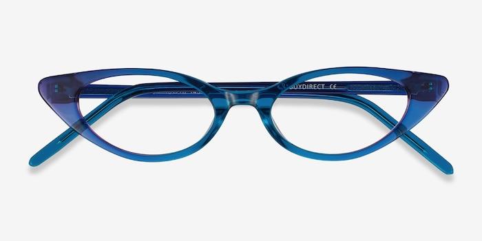 Hush Bleu Acétate Montures de Lunette de vue d'EyeBuyDirect, Vue Rapprochée