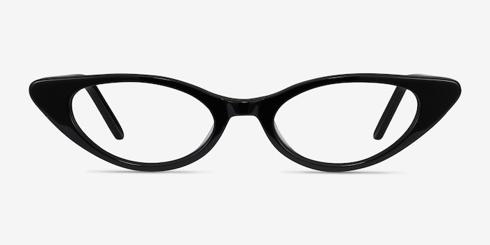 Hush Black Acetate Eyeglass Frames from EyeBuyDirect, Front View