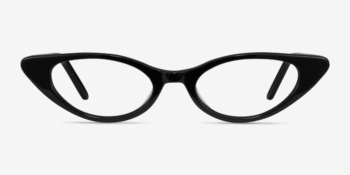 Hush Noir Acétate Montures de Lunettes d'EyeBuyDirect, Vue de Face