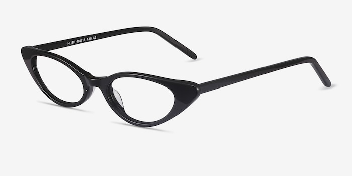 Hush Black Acetate Eyeglass Frames from EyeBuyDirect, Angle View