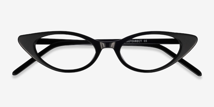 Hush Black Acetate Eyeglass Frames from EyeBuyDirect, Closed View
