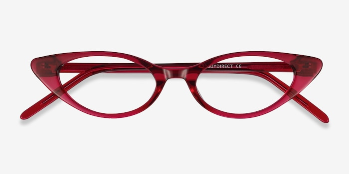 Hush Raspberry Acetate Eyeglass Frames from EyeBuyDirect, Closed View