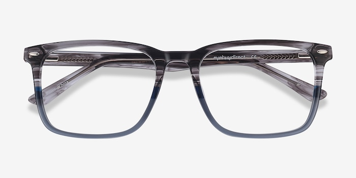 Tactician Gray Striped Acetate Eyeglass Frames from EyeBuyDirect, Closed View