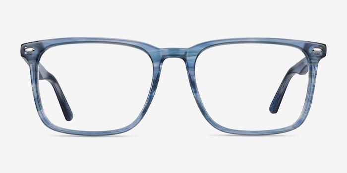 Tactician Blue Striped Acétate Montures de Lunette de vue d'EyeBuyDirect, Vue de Face