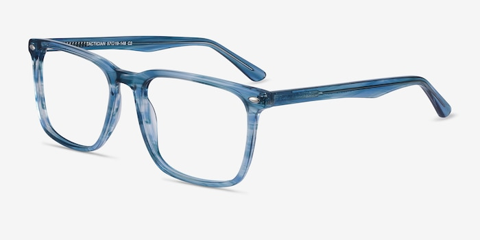 Tactician Blue Striped Acetate Eyeglass Frames from EyeBuyDirect, Angle View