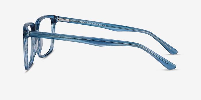 Tactician Blue Striped Acétate Montures de Lunette de vue d'EyeBuyDirect, Vue de Côté