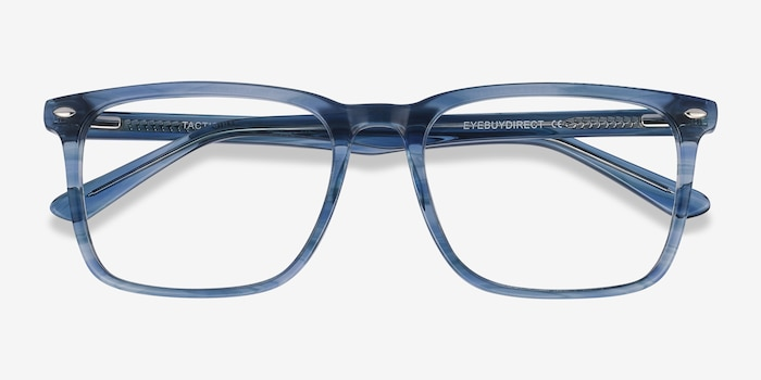 Tactician Blue Striped Acetate Eyeglass Frames from EyeBuyDirect, Closed View