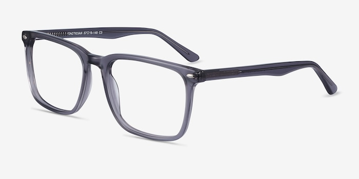 Tactician Gray Acetate Eyeglass Frames from EyeBuyDirect, Angle View