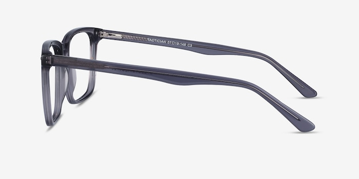 Tactician Gray Acetate Eyeglass Frames from EyeBuyDirect, Side View