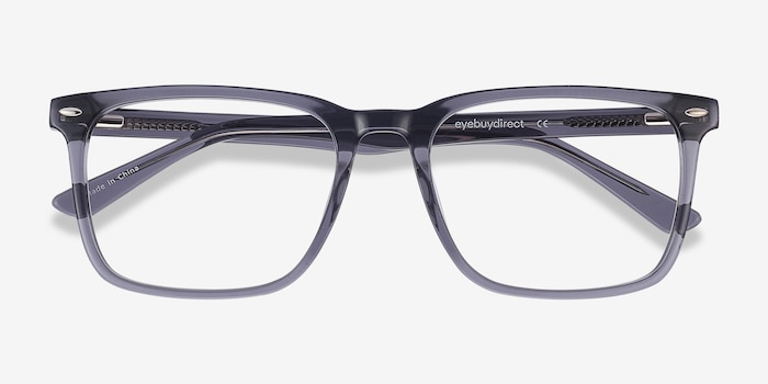 Tactician Gray Acetate Eyeglass Frames from EyeBuyDirect, Closed View