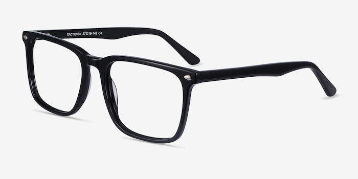 Tactician Black Acetate Eyeglass Frames from EyeBuyDirect, Angle View