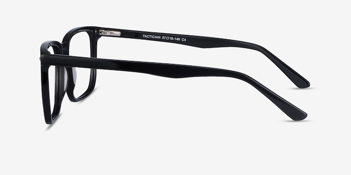 Tactician Black Acetate Eyeglass Frames from EyeBuyDirect, Side View