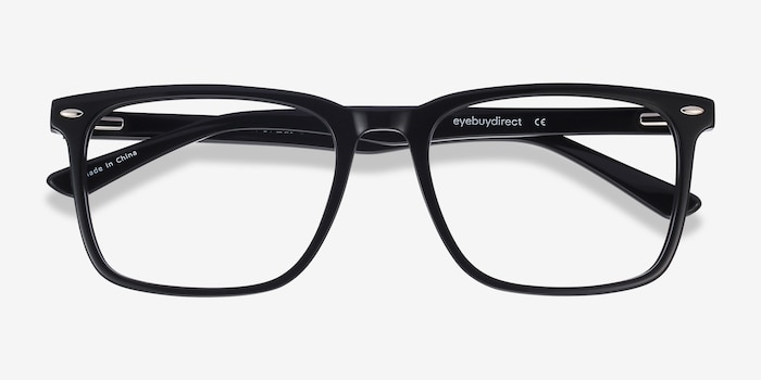 Tactician Black Acetate Eyeglass Frames from EyeBuyDirect, Closed View