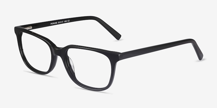 Peruse Black Acetate Eyeglass Frames from EyeBuyDirect, Angle View