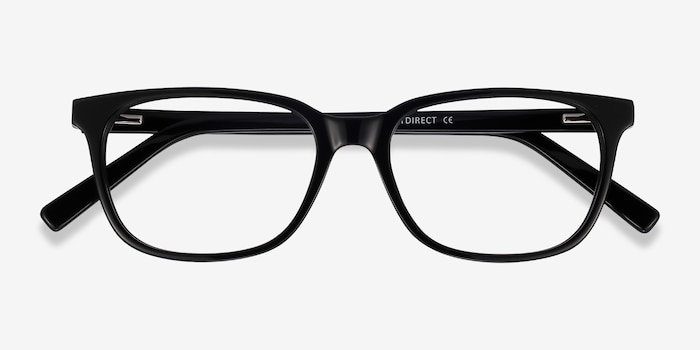 Peruse Black Acetate Eyeglass Frames from EyeBuyDirect, Closed View