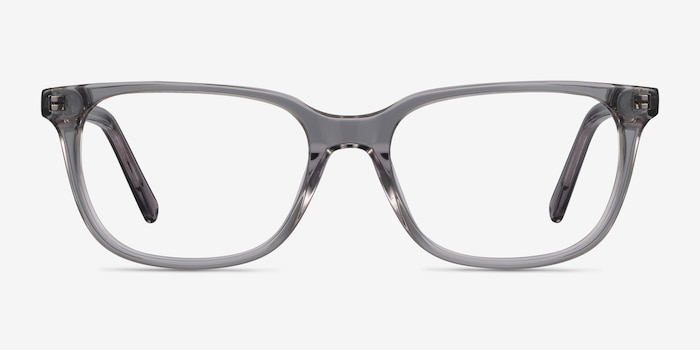 Peruse Clear Gray Acetate Eyeglass Frames from EyeBuyDirect, Front View