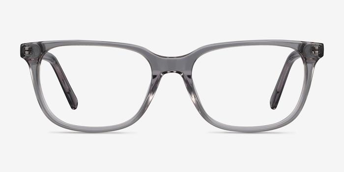Peruse Clear Gray Acétate Montures de Lunette de vue d'EyeBuyDirect, Vue de Face
