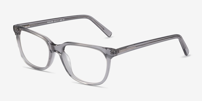Peruse Clear Gray Acétate Montures de Lunettes d'EyeBuyDirect, Vue d'Angle