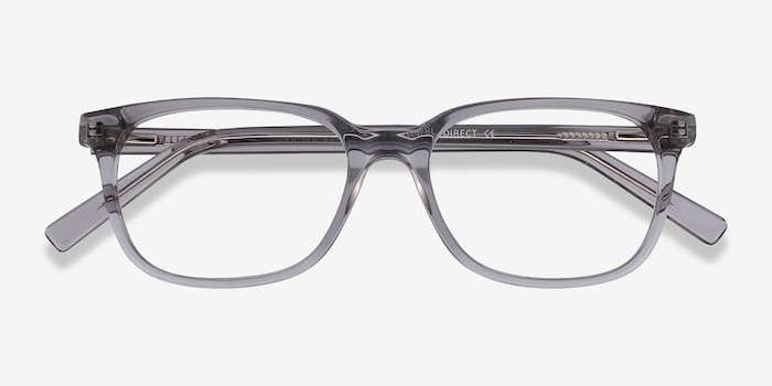 Peruse Clear Gray Acetate Eyeglass Frames from EyeBuyDirect, Closed View