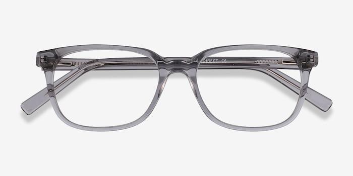 Peruse Clear Gray Acétate Montures de Lunette de vue d'EyeBuyDirect, Vue Rapprochée