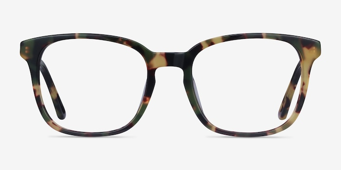 Tower Green Tortoise Acetate Eyeglass Frames from EyeBuyDirect, Front View