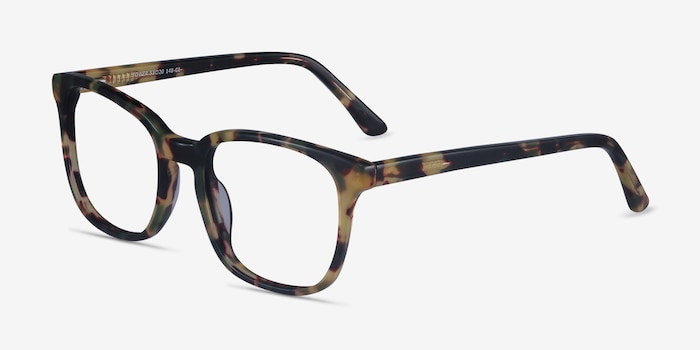 Tower Green Tortoise Acetate Eyeglass Frames from EyeBuyDirect, Angle View