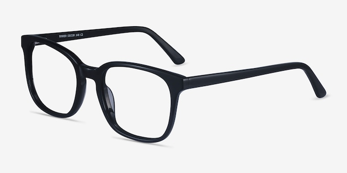 Tower Black Acetate Eyeglass Frames from EyeBuyDirect, Angle View