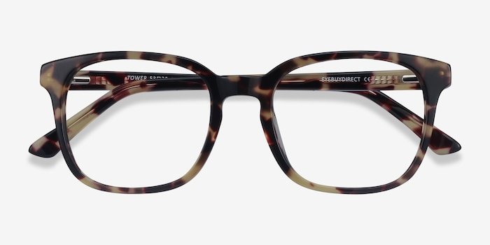 Tower Tortoise Acetate Eyeglass Frames from EyeBuyDirect, Closed View