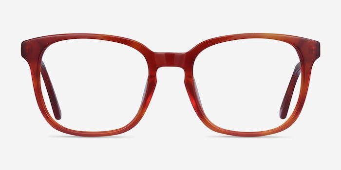 Tower Blood Orange Acetate Eyeglass Frames from EyeBuyDirect, Front View