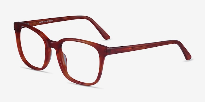 Tower Blood Orange Acetate Eyeglass Frames from EyeBuyDirect, Angle View