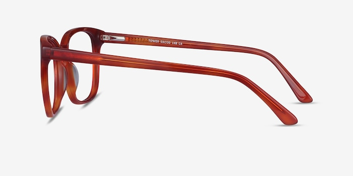 Tower Blood Orange Acetate Eyeglass Frames from EyeBuyDirect, Side View