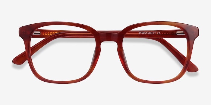 Tower Blood Orange Acetate Eyeglass Frames from EyeBuyDirect, Closed View